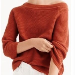 J. Crew Relaxed Boatneck Orange Cotton Sweater